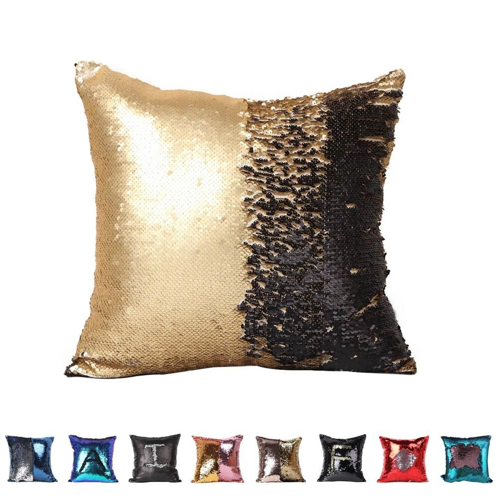 mermaid sequins pillow cover throw pillow case magical color change fashion ebay. Black Bedroom Furniture Sets. Home Design Ideas