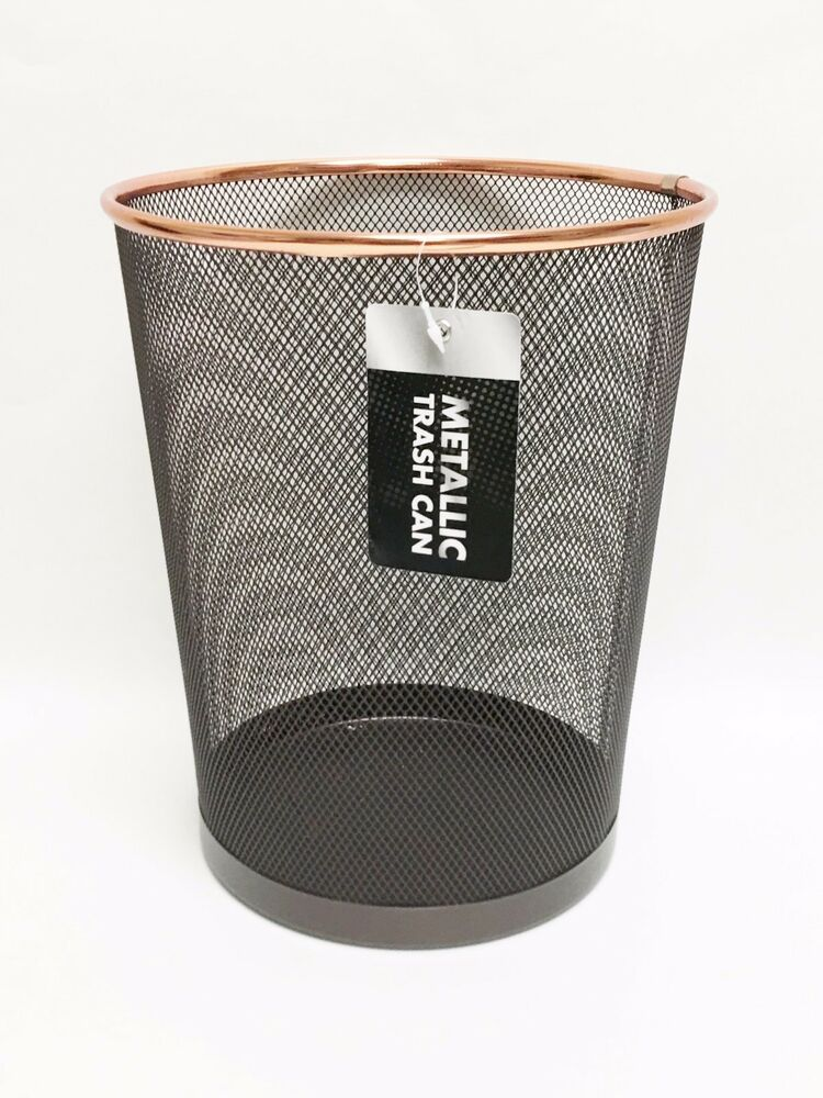 New metallic black metal mesh with rose gold trim round for Gold bathroom wastebasket