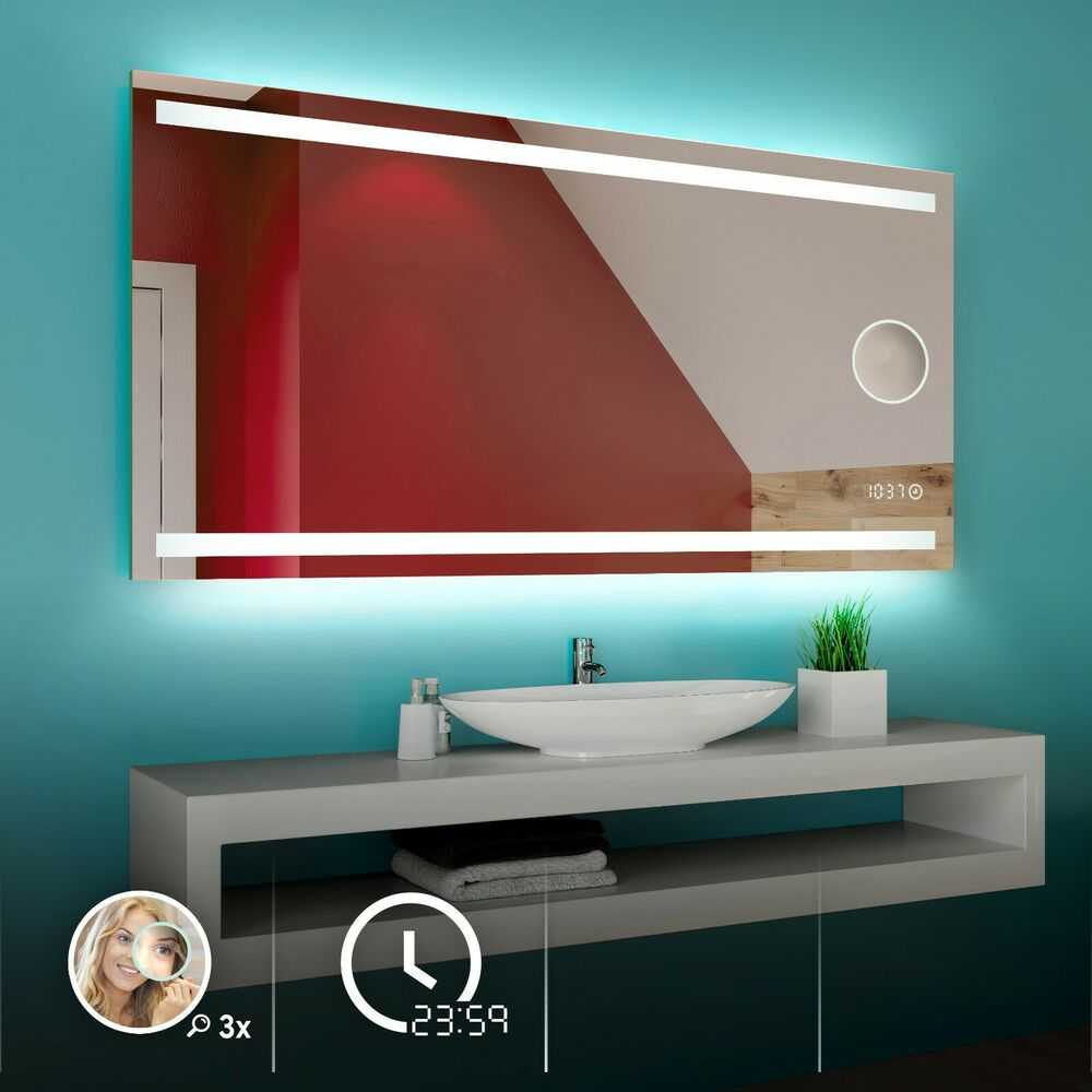 multiled badspiegel mit led beleuchtung bad spiegel wandspiegel lichtspiegel l09 ebay. Black Bedroom Furniture Sets. Home Design Ideas