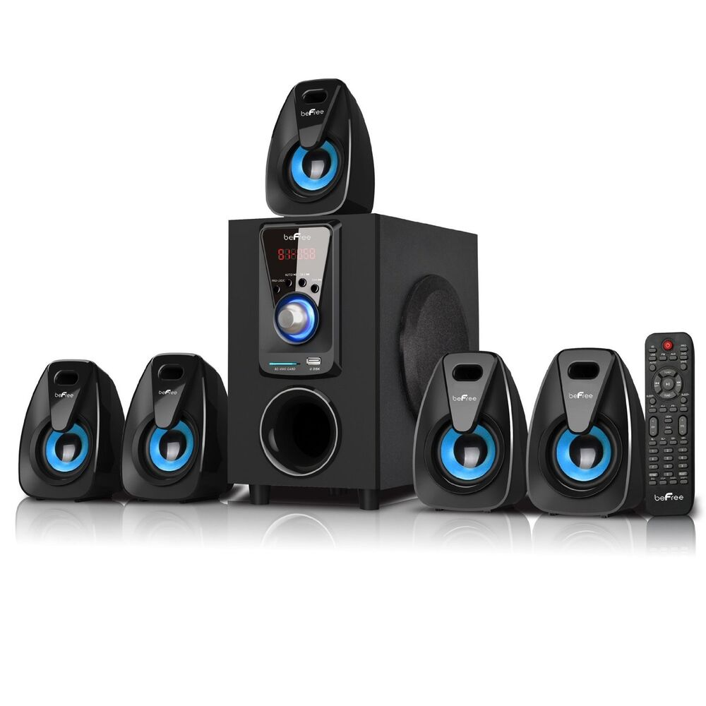 5 1 channel befree sound bfs 400 surround sound bluetooth speaker system blue ebay. Black Bedroom Furniture Sets. Home Design Ideas