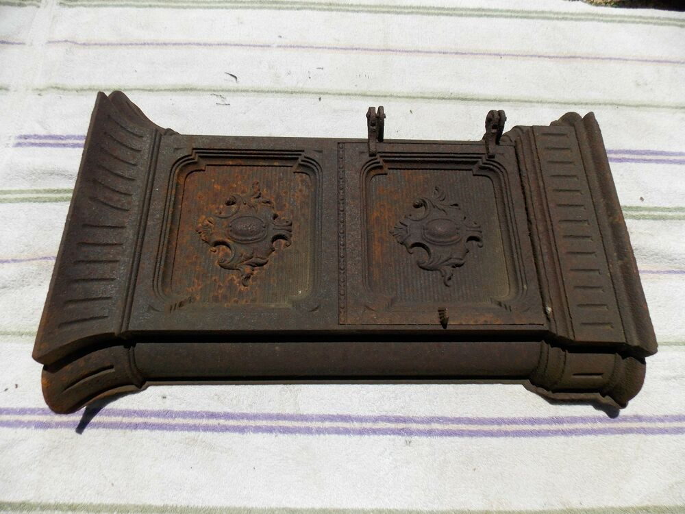 Antique Ornate Cast Iron Wood Coal Stove Side Door Cover