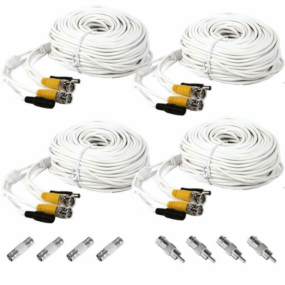 4x 100ft Security Camera Bnc Video Power Cable Dvr Cctv