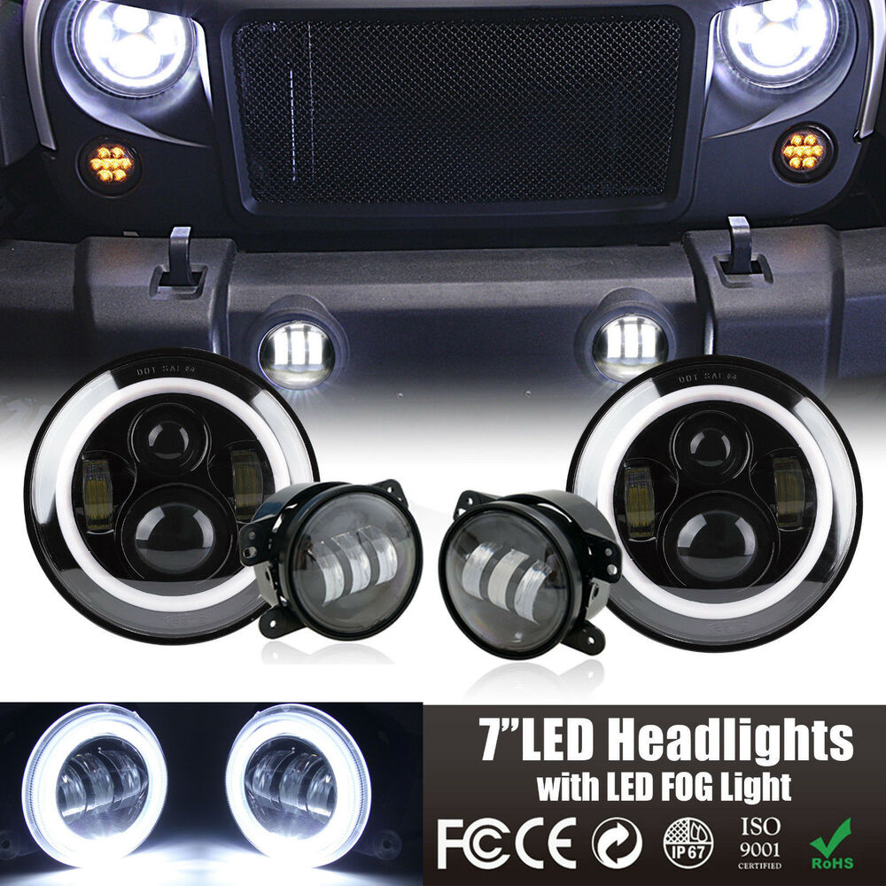 led halo headlights   led fog light drl combo kit for jeep