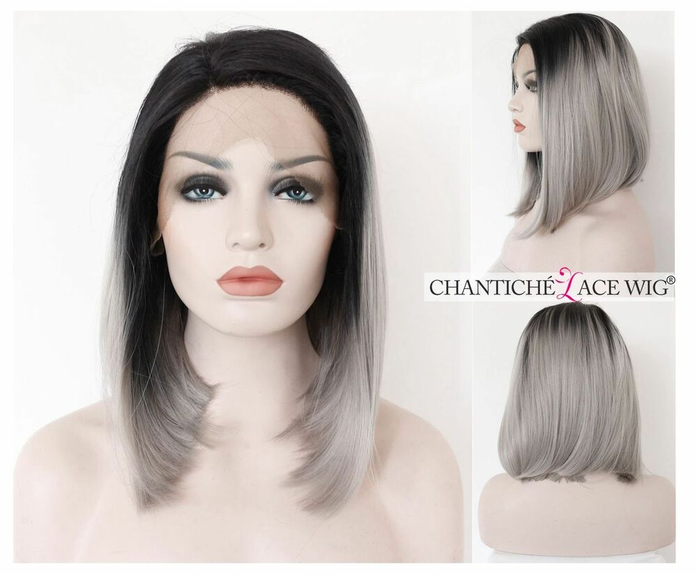 Short Bob Ombre Lace Front Synthetic Hair Wig Dark Roots