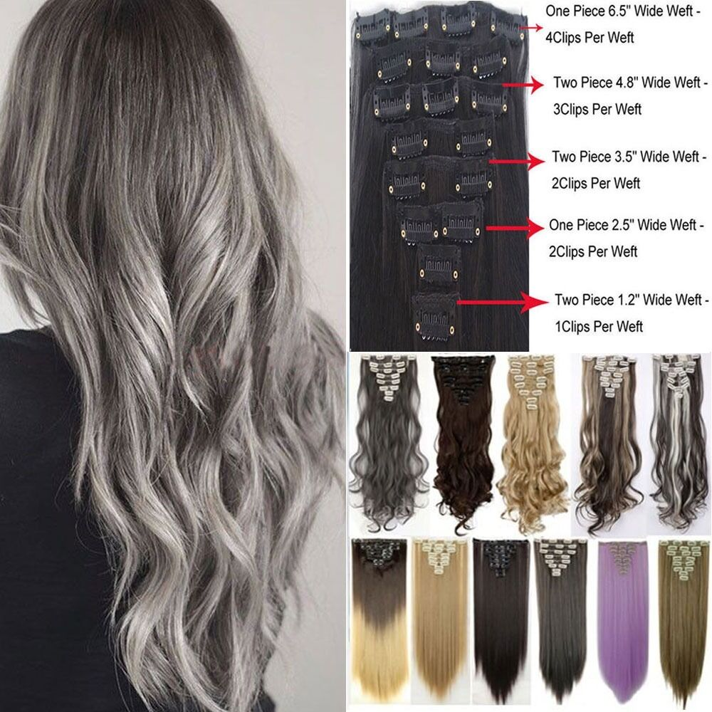 Mega Thick 18Clips Clip in Full Head Hair Extensions ...