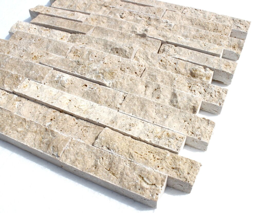Travertine light xl naturstein schiefer marmor fliese wandverkleidung mosaik ebay - Wandpaneele kunststoff innen ...