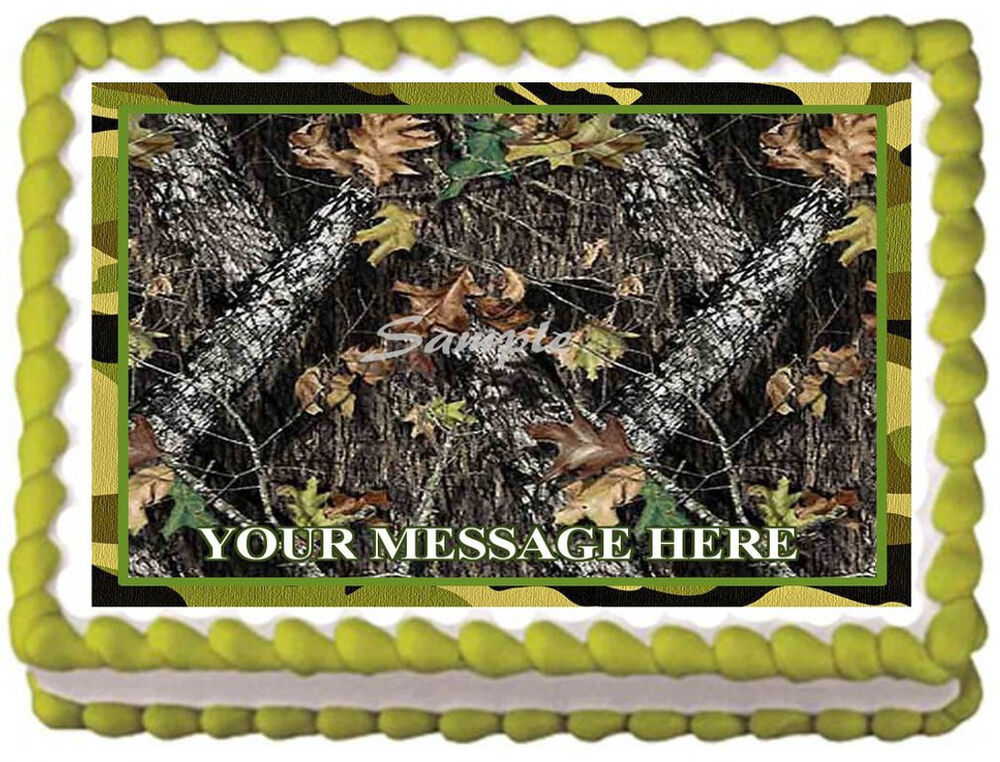 mossy oak wedding cake toppers green camo tree camouflage image edible cake topper ebay 17539