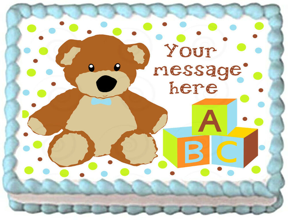 Teddy bear baby shower boys image edible cake topper for Baby footprints cake decoration