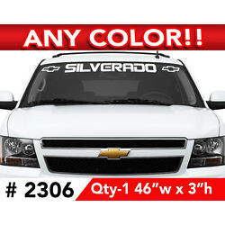 CHEVY  '' SILVERADO w BOWs '' WINDSHIELD DECAL 46'' x 3'' ANY COLOR