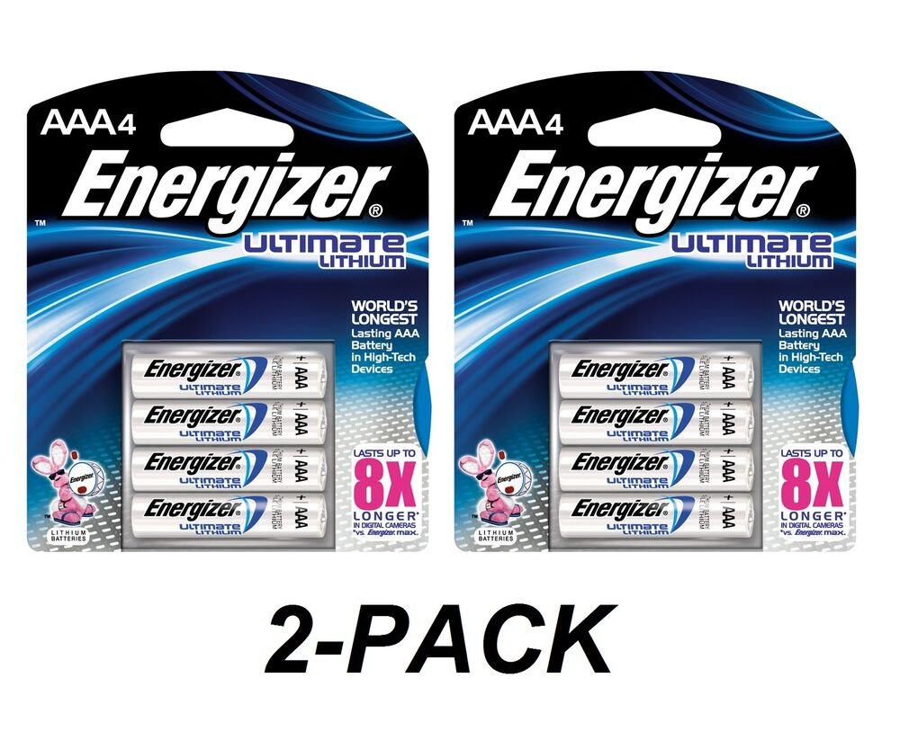 energizer ultimate lithium aaa batteries 2x 4 packs l92bp 4 aaa4 4x2 8 total ebay. Black Bedroom Furniture Sets. Home Design Ideas