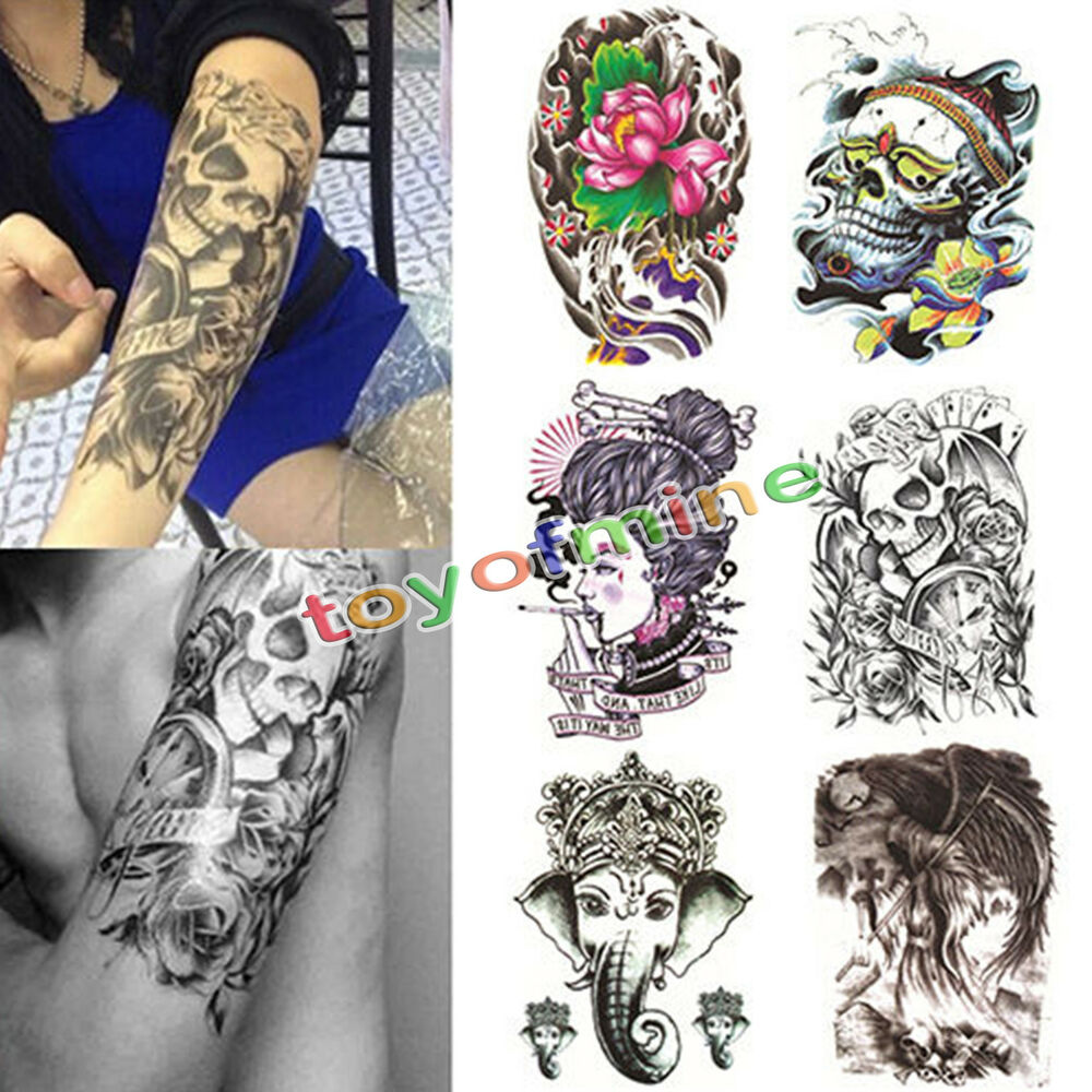 Large skull temporary tattoo arm body art removable for Temporary tattoo sticker