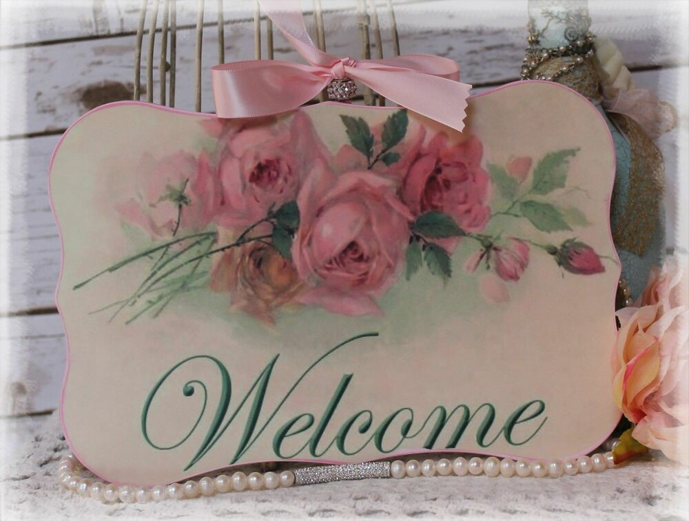 New welcome vintage shabby chic country cottage style for Shabby chic wall art
