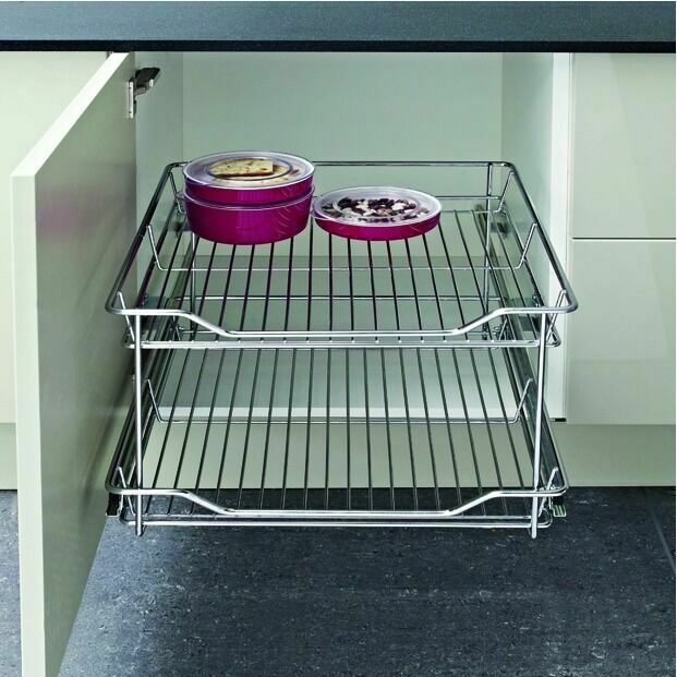 300mm X2 Base Unit Storage Basket Kitchen Pull Out Chrome Double ...
