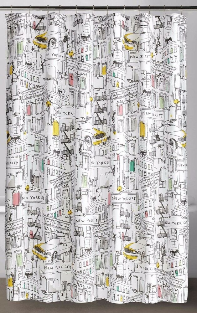 Dkny broadway new york fabric shower curtain modern for Curtains and drapes nyc