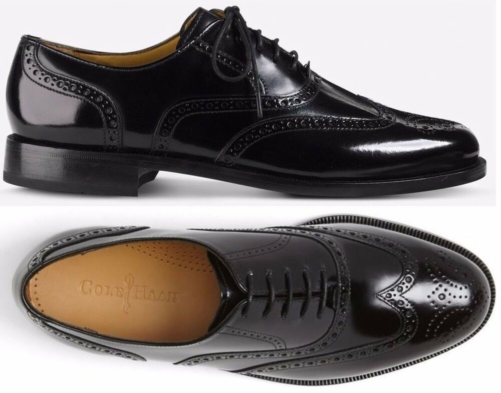 Mens Cole Haan Shoes Connolly Wingtip Oxford Black Leather