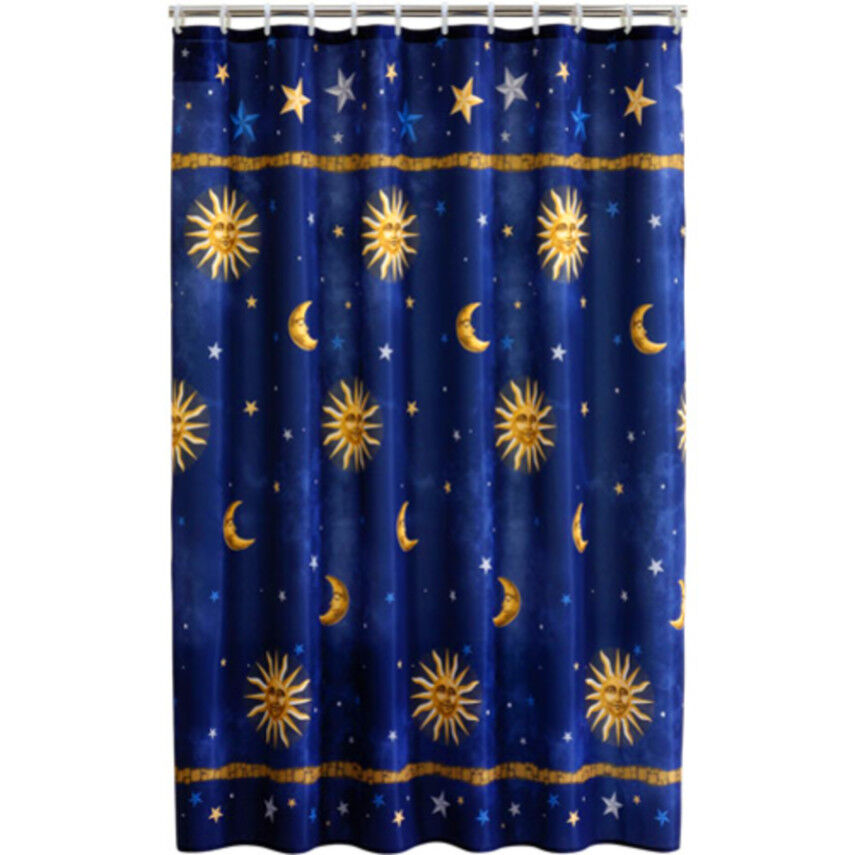 navy blue curtains celestial fabric shower curtain 70 quot x 71 quot polyester bath 12427