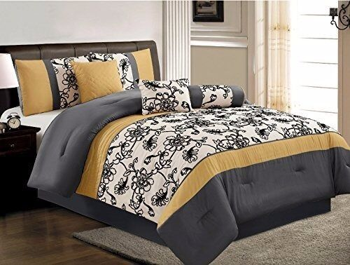 7 Pc Luxury Yellow Black White Grey Embroidered Comforter