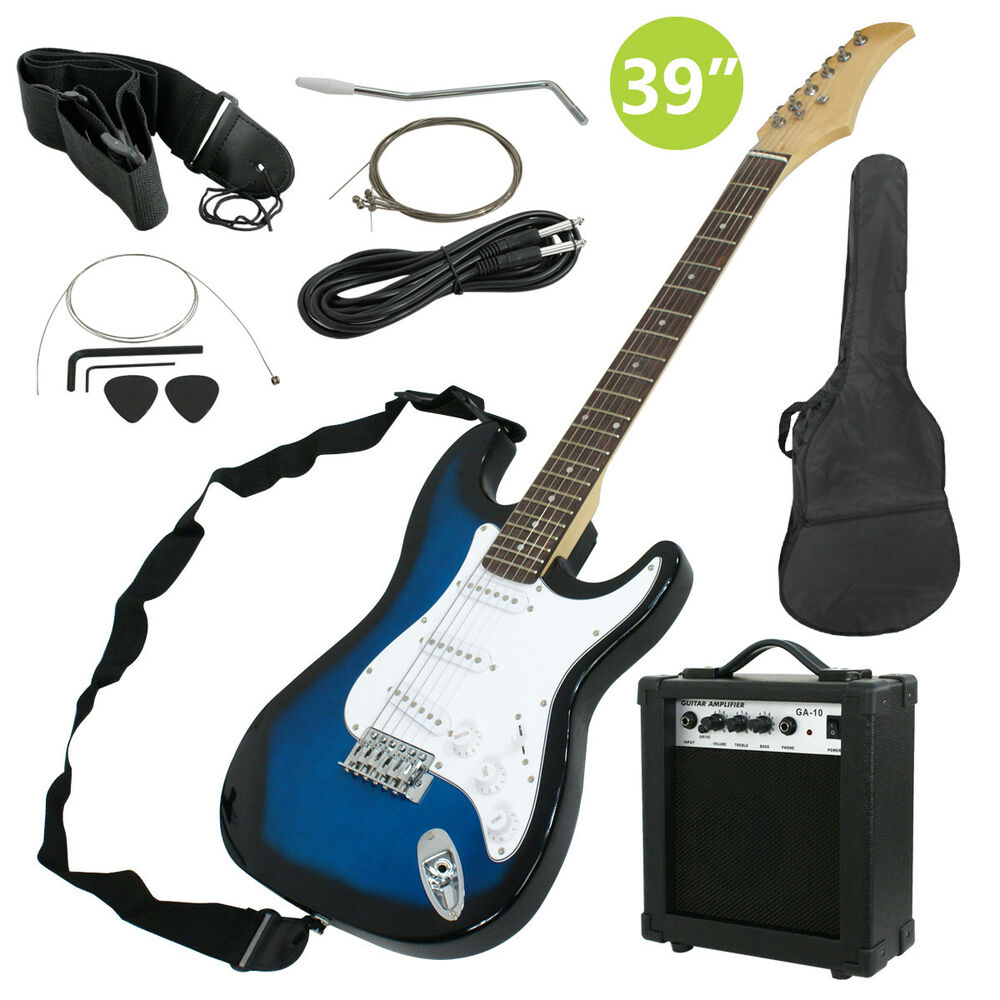 full size blue electric guitar with amp case and accessories pack beginner ebay. Black Bedroom Furniture Sets. Home Design Ideas
