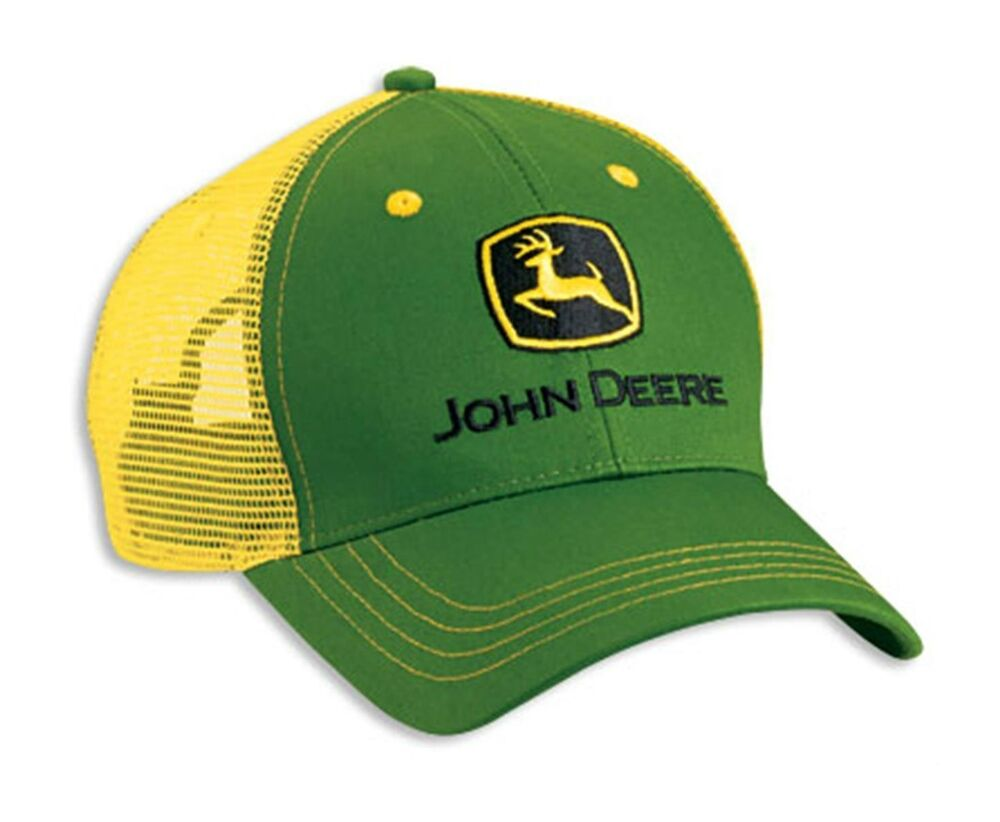 Tractor Shirts And Hats : John deere green yellow twill mesh cap hat brand new