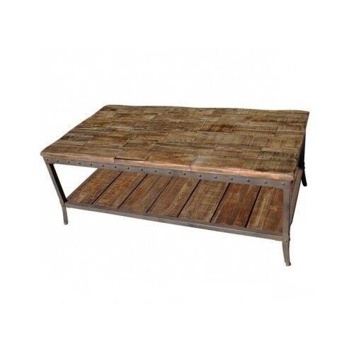 Industrial coffee table pine wood distressed modern rustic for Distressed wood coffee table set
