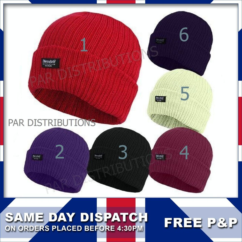 6a6e40aef25 Details about Mens Ladies 3M Thinsulate Fully Fleece Thermal Lined Beanie  Hats Winter 99784