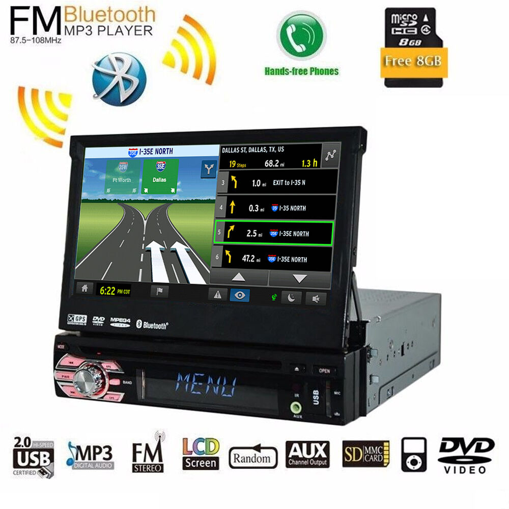 1 Din 7'' Car Stereo CD/DVD Player Bluetooth Audio Video
