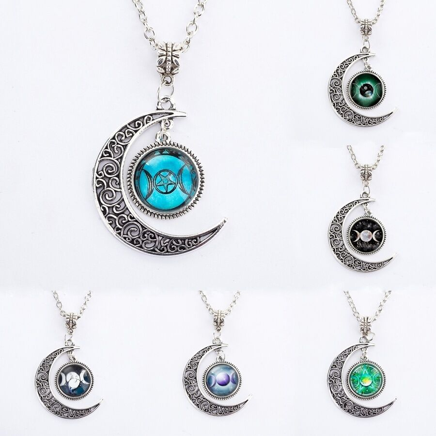 Moonstone Necklaces: Fashion Charm Triple Moon Goddess Wiccan Star Moonstone