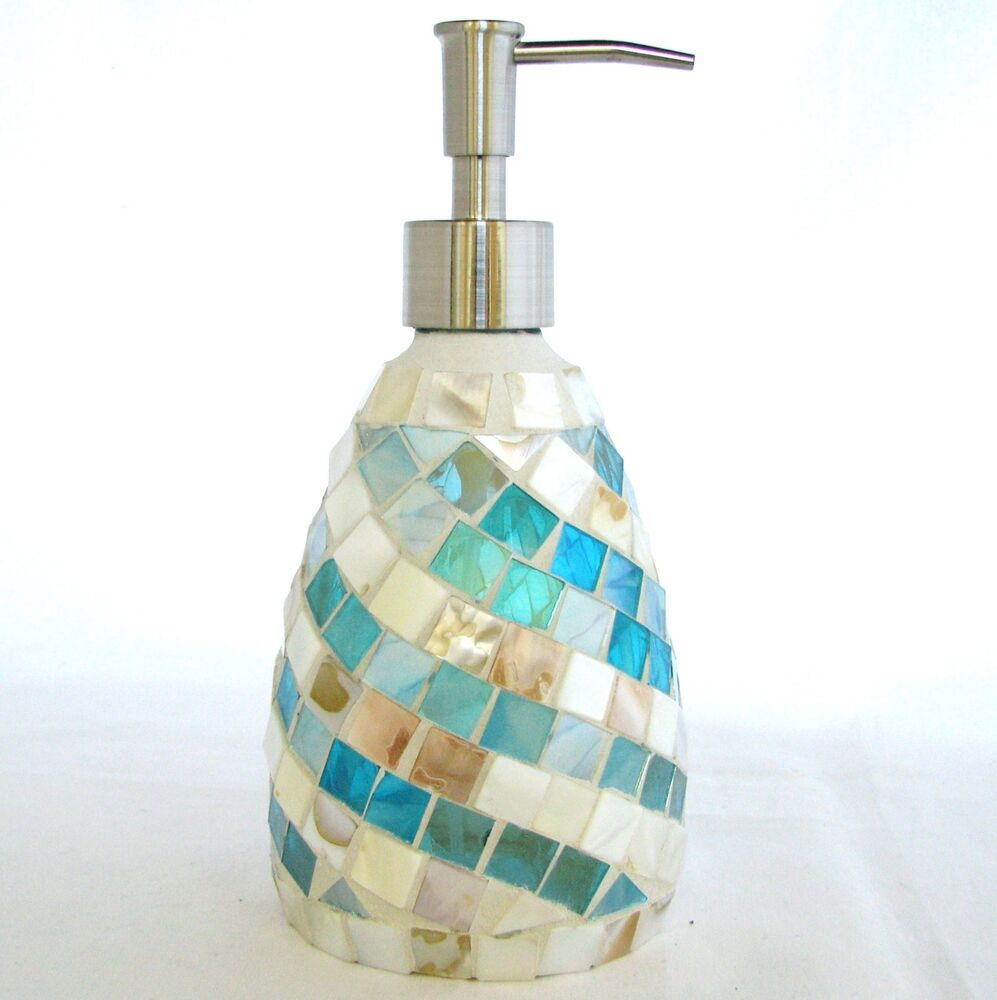 New Coastal Collection Blue Mop Mother Of Pearl Glass