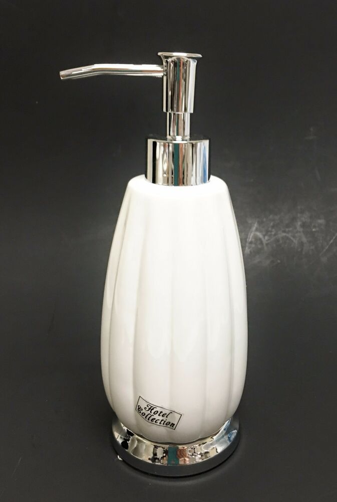 New Hotel Collection White Ceramic Lotion Soap Dispenser