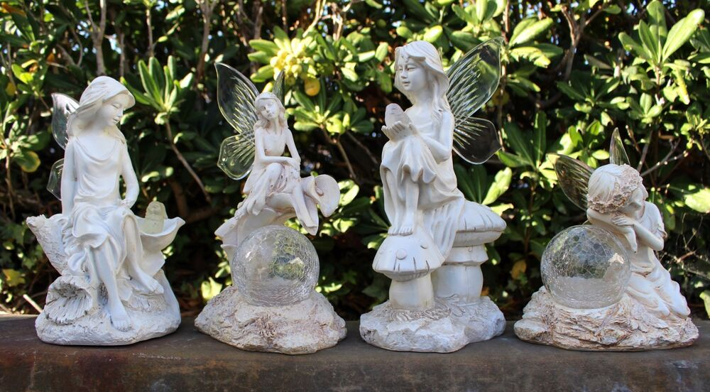 2 pk garden decor solar fairy angel statue sculpture light for Garden ornaments and accessories