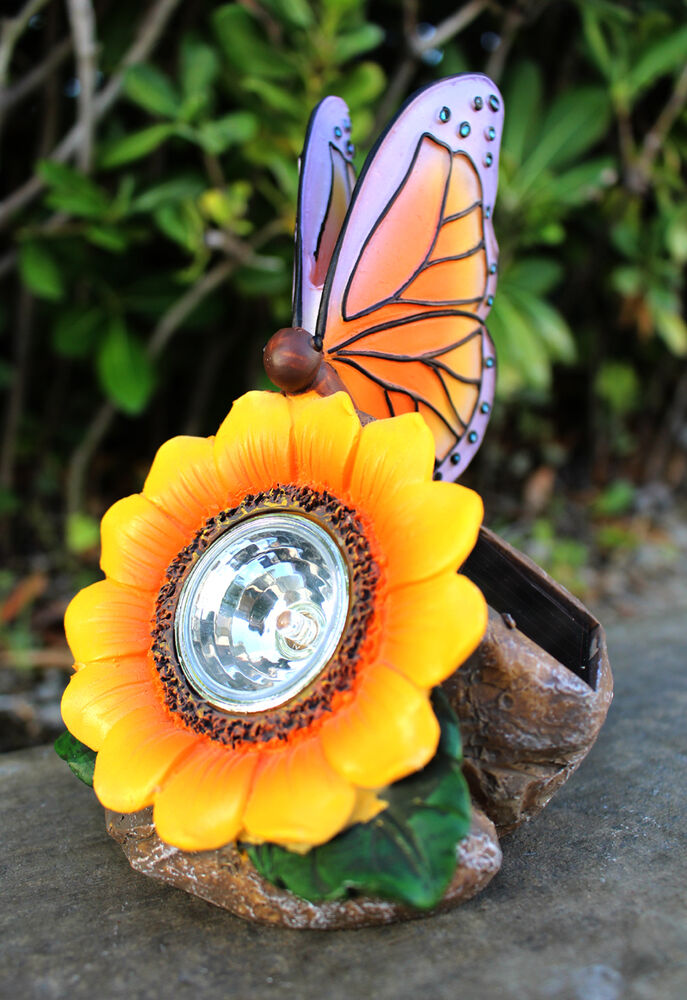 Solar outdoor garden decor rock light with butterfly and for Outdoor butterfly decor