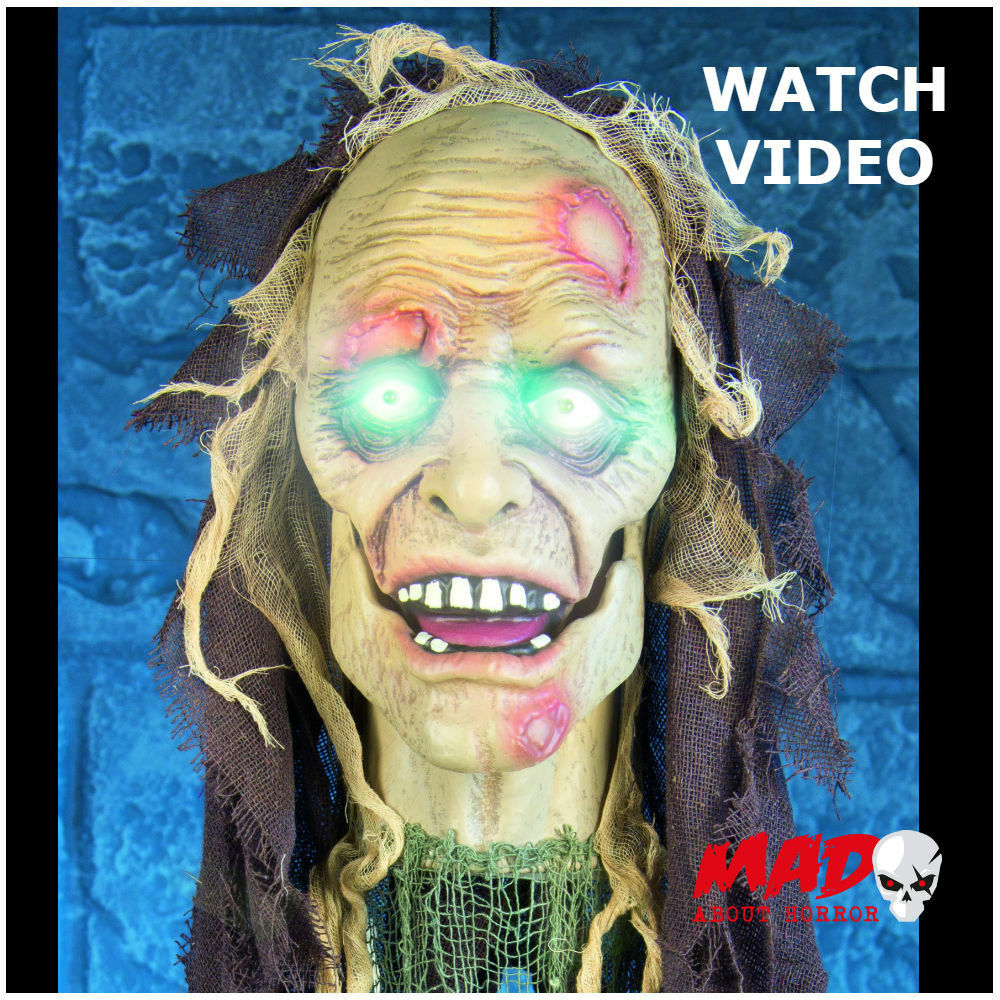 Animated zombie door greeter head halloween decoration for Decoration zombie