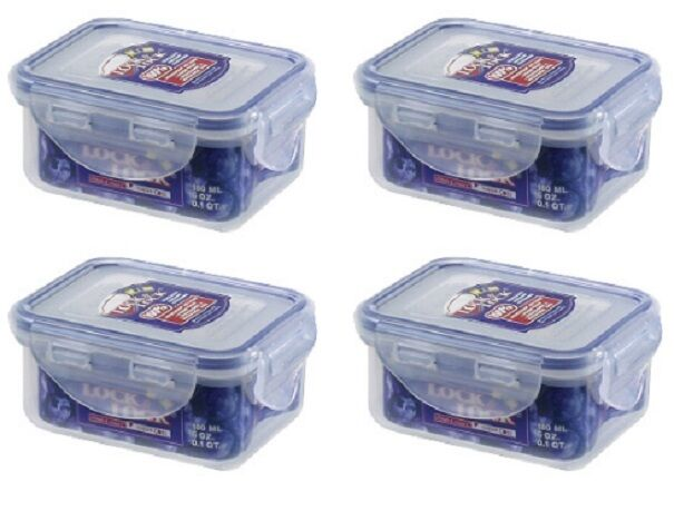 4 X Lock Amp Lock 180ml Rectangle Food Storage Containers