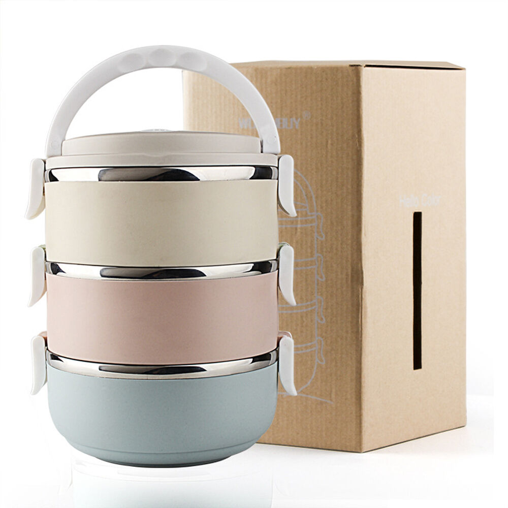 3 tier stainless steel metal bento lunch box insulated thermal food containers ebay. Black Bedroom Furniture Sets. Home Design Ideas