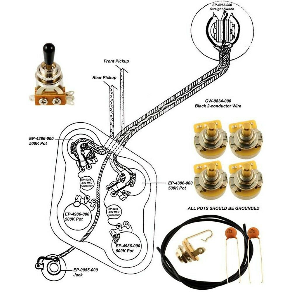 Wiring Diagram For Les Paul : Epiphone les paul wiring kit with diagram ebay