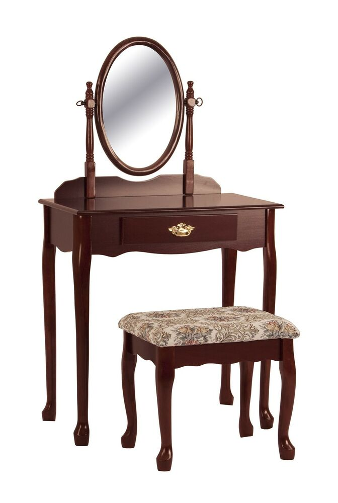 Mirrored Vanity Table And Stool: Cherry Vanity Table Set Mirror Stool Wood Bedroom