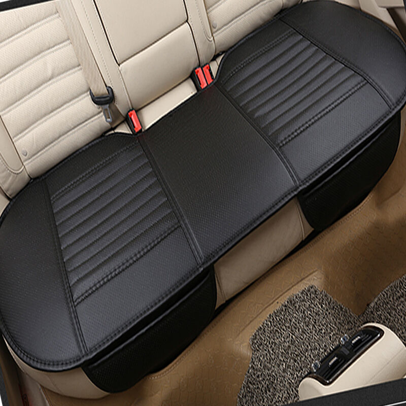 3d universal bamboo charcoal cushion pad pu leather car rear seat cover black ebay. Black Bedroom Furniture Sets. Home Design Ideas