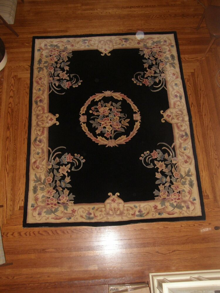 Royal Palace Handmade Rug Quot Ornate Wreath Quot Black H52812 012