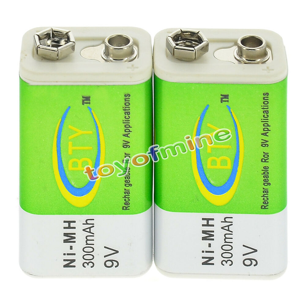 2x 9v 9 volt 300mah bty green ni mh rechargeable battery. Black Bedroom Furniture Sets. Home Design Ideas