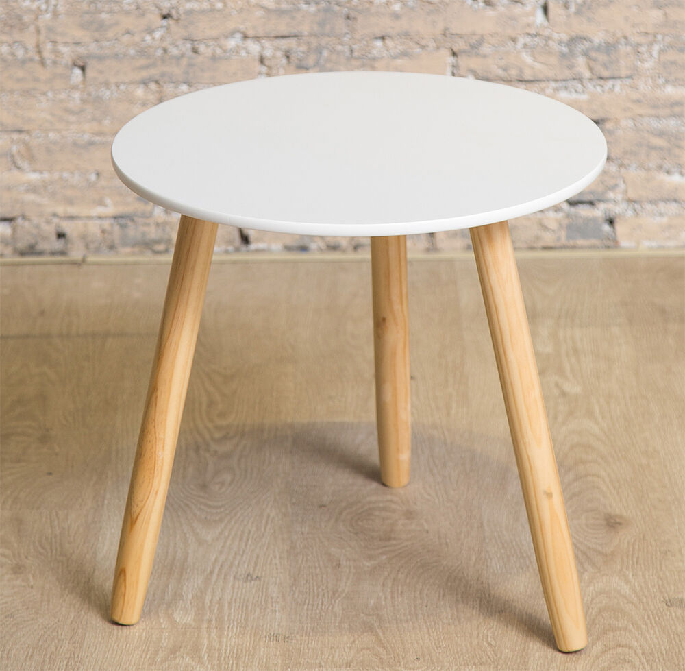 Scandinavian skandi side table bedside round living room wood white ebay White wood coffee table