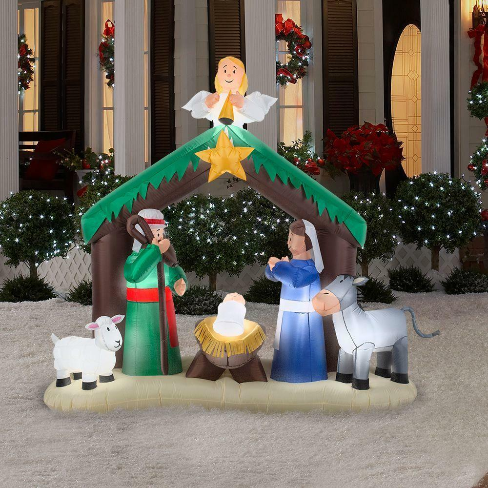 Christmas inflatable nativity scene decor outdoor garden for Christmas lawn decorations