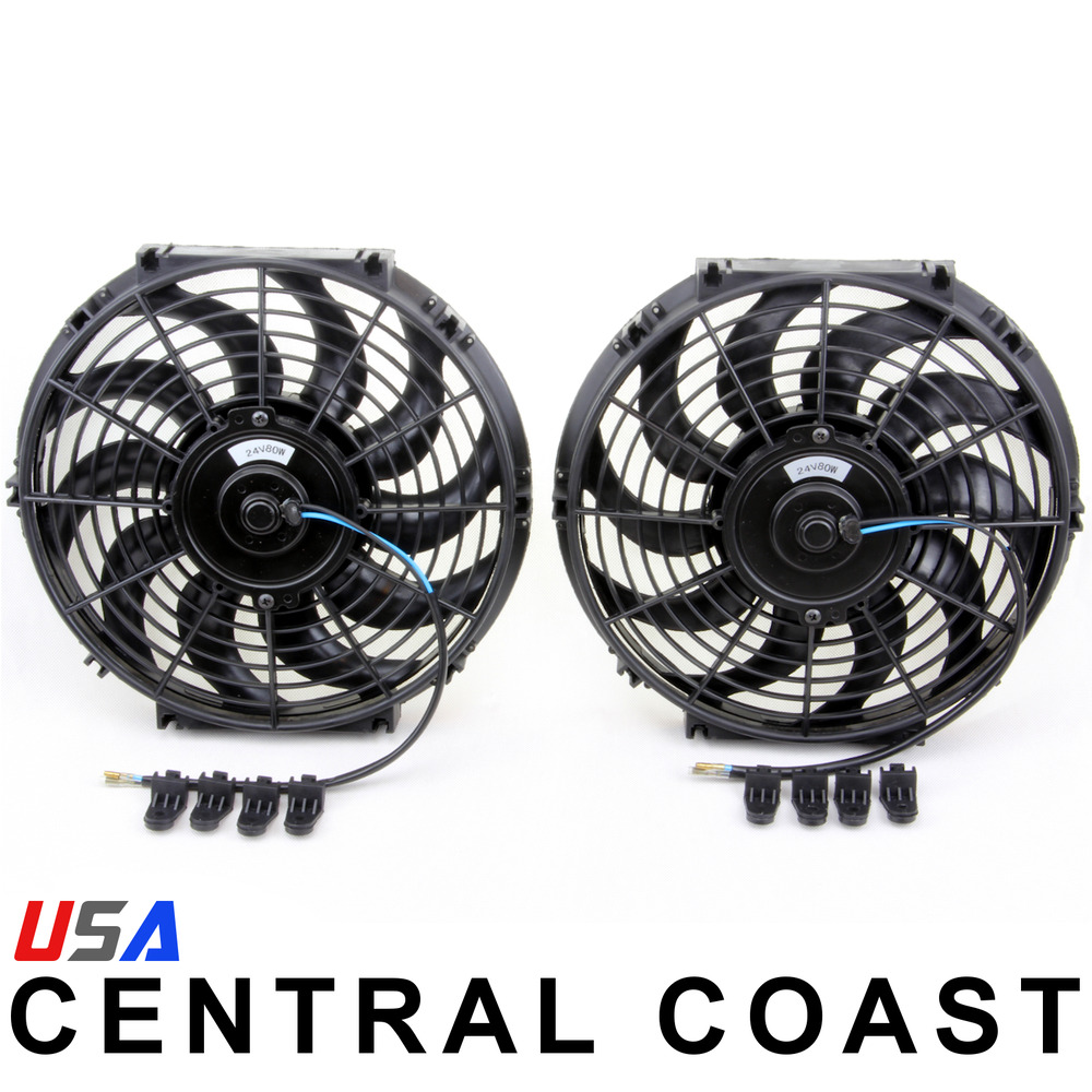 2 12 24 volt universal push pull radiator cooling fan kit for 24 volt fan motor