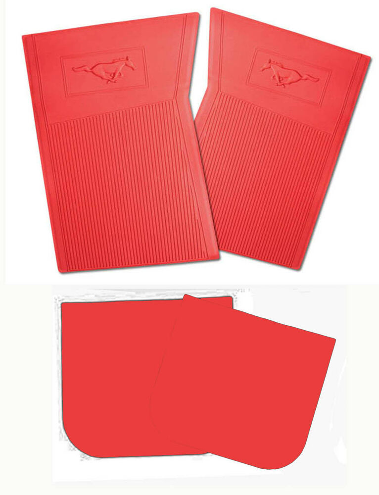 New 1964 1973 ford mustang red floor mats molded rubber for 1965 ford mustang floor mats
