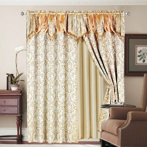 Luxury lined curtain set drape valance window treatment 2 Luxury window treatments