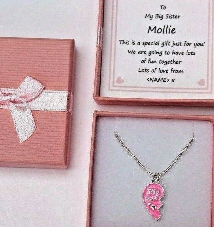 BIG SISTER GIFT PINK HEART NECKLACE PERSONALISED MESSAGE FROM BABY ...