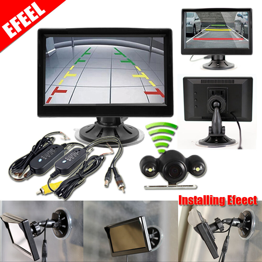 "5"" TFT LCD Monitor + Wireless Car Backup Camera Rear View"