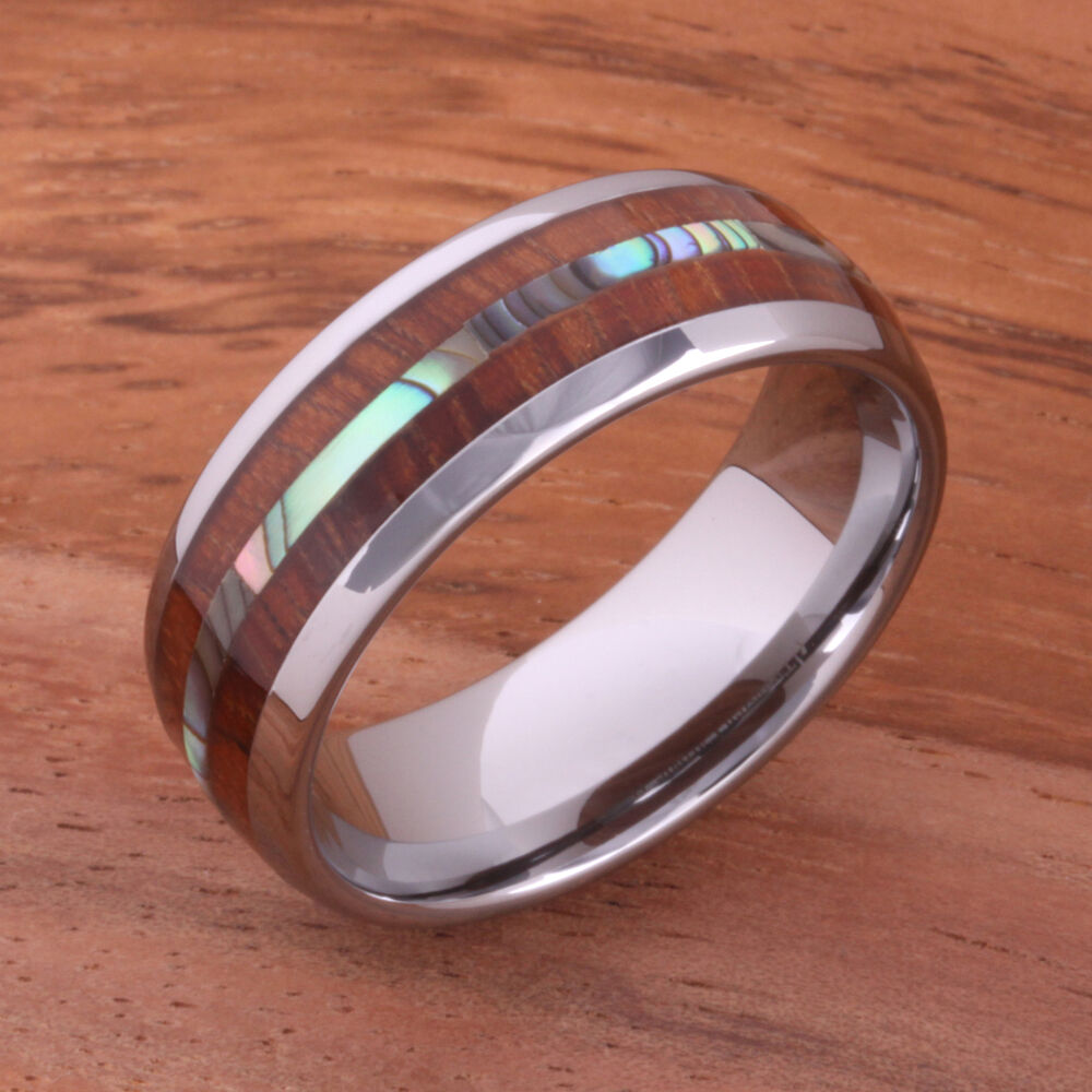 wedding band rings hawaiian koa wood and abalone inlaid tungsten 8422