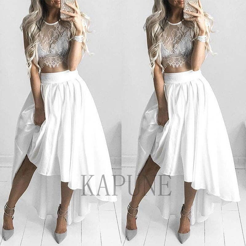 new fashion lace satin two pieces dress tops high