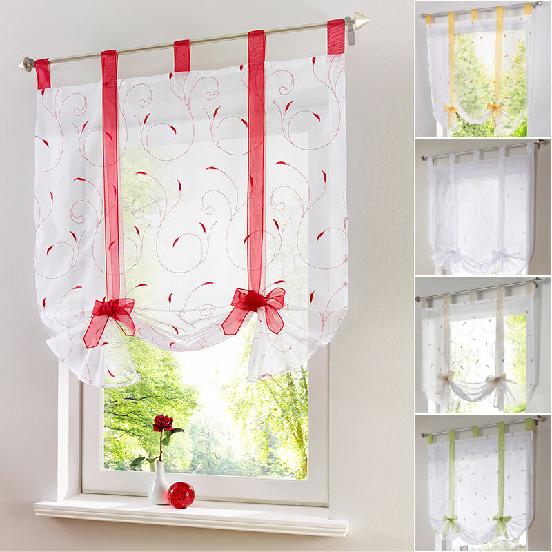 GB Tab Top Sheer Kitchen Balcony Window Curtain Voile