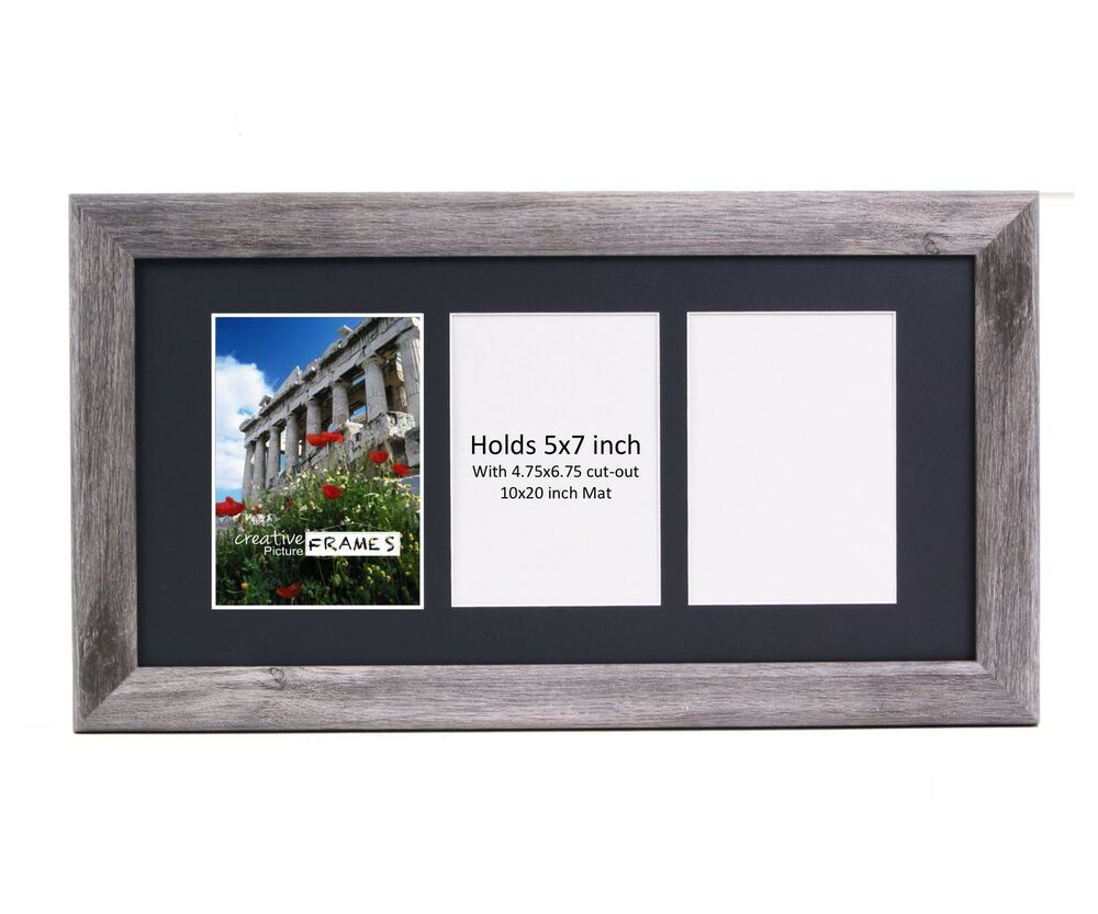 CreativePF 3 Opening Multi 5x7 Driftwood Picture Frame 10x20 Black ...